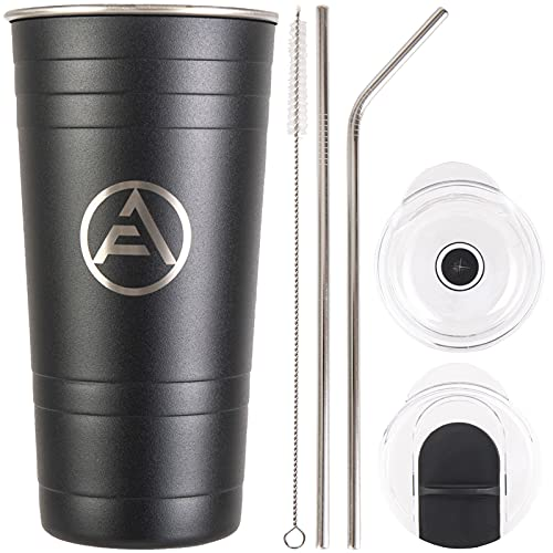 EAF Stainless Steel Coffee Tumbler with Straw, Insulated Tumblers Coffee Travel Mug for Men, 16 oz Double Wall Thermal Cup for Hot Cold Drinks - Matte Black