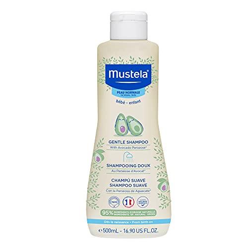 Gentle Shampoo, Suave e Não Arde os Olhos, Mustela Bebê, Azul, Médio 500 ml