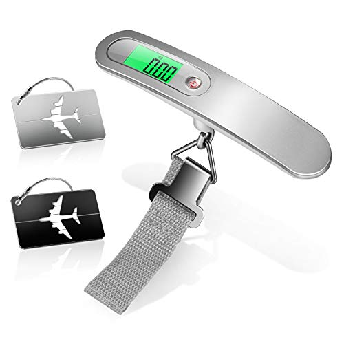 Yosemy - Báscula Digital para Equipaje, 1 Unidad, báscula para Equipaje, 2 Piezas, Maleta Colgante con indicador de Temperatura, 50 kg de Capacidad, práctica para Viajes, Vida Familiar (Plateada)