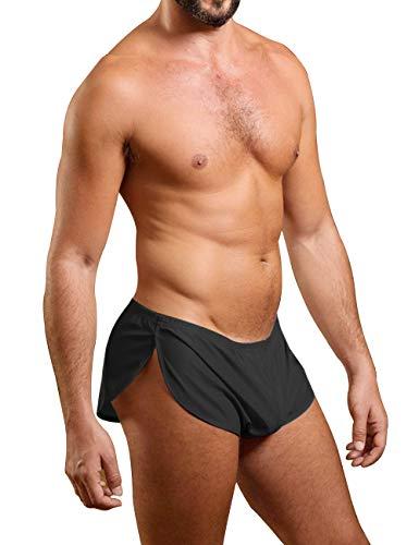 Muscle Alive Herren Extrem Mesh Kurze Hose mit Groß Teilt Seiten Unterwäsche Boxershorts Slip Unterhosen