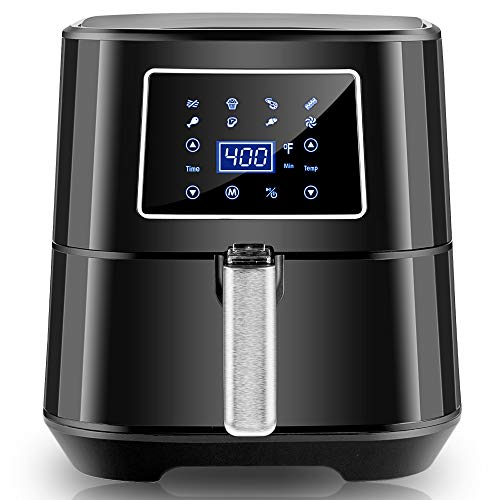 Bear Air Fryer, 5.8QT Digital Air Fryers (1700w) with Overheating Protection & LED Touch Screen, Electric Hot Oven Oilless Cooker with 7 Cooking Functions, Nonstick Removable Basket, 100pcs Parchment Paper & Skewer & Rack Skewers & Cookbook