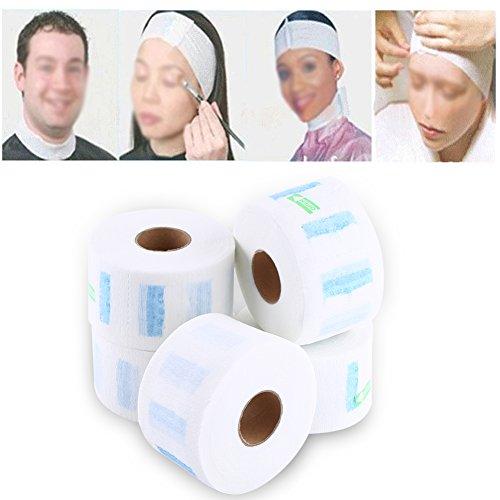 Lot de 5 rouleaux de papier jetable pour le cou - En papier extensible et étanche - Accessoire de coiffure pour le lavage des cheveux, le rasage, le maquillage