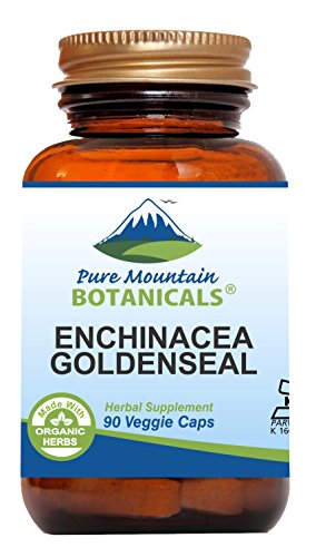 Echinacea Goldenseal Capsules  90 Kosher Vegan Caps with 450mg Organic Echinacea Goldenseal Complex