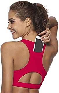 OneChange Top Women's Sports Bra, with Cell Phone Pocket Compression, Pushing Underwear, Women's top Yoga Gym Running Bh S...