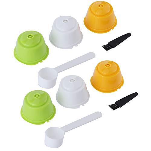 Nicoone Filtros de cápsulas de café, 2 juegos de filtro, taza, reutilizables, rellenables, con pincel y cuchara para cafetera Dolce Gusto