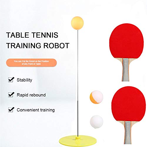 HUVE Elastische Weiche Welle Tischtennis Trainer Dekompression Sport Augentrainingsball Mit 2 Tischtennis Paddel & 3 Ping Pong Ball Set Indoor Outdoor Spielen