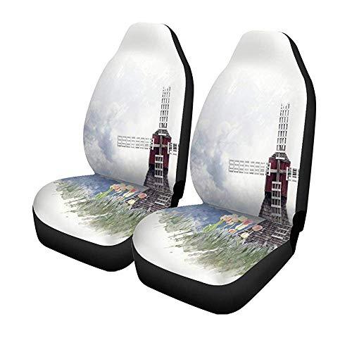 Beth-D set van 2 autostoelhoezen Blue Bloom Digital schilderijen van Windmolen en en Tulpen Aquarel Universal Auto Front Seats Protector 14-17IN