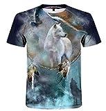 LIUBAOBEI 3D Camisetas para Hombre,Animal Lobo Patrón De Setas Camiseta para Hombre Moda De Verano Cuello Redondo Tops Elemento Camisa Moda para Hombre De Manga Corta Hip Hop Streetwear -L