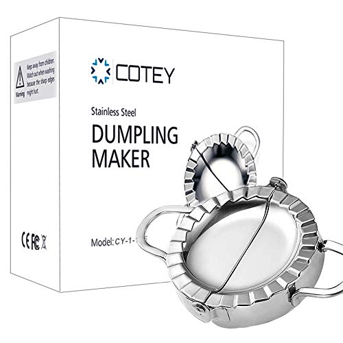 COTEY 4' Dumpling Maker, Large Stainless Steel Empanada Press, 2-in-1 Dough Press/Dumpling Mold for Empanada, Dumpling, Ravioli, Pierogi & Meat Pie