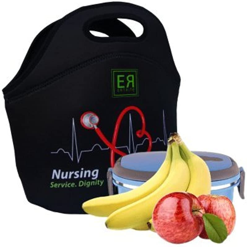 Nurses Insulated Lunch Tote Bag X Large X Thicker Insulation Stylish Luxury Nurse Gift Idea By EatRite Black
