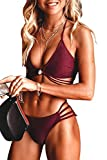 CUPSHE Women's Low Rise Bikini Set Strappy Triangle Top Padded Two Piece Swimsuits, XXL Red