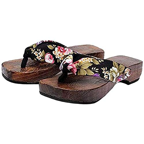 WYEZ Sandalias De Cuña Elegantes para Mujer Sandalias Planas Elegantes para Zapatillas De Mujer Sandalias De Plataforma Cómodas Chanclas Zapatos De Playa,Negro,39