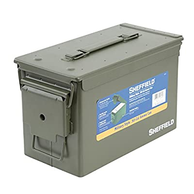 Sheffield 12620 Army Green Military Style .50-Cal. Ammo Can | Rugged Metal Ammo Box | Air Tight & Water Tight Lockable Container | Stackable Design