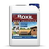 Roxil fondo preservante de madera - 5 Litros - Protección y cuidado para la madera en intemperie exterior contra la carcoma y podredumbre, formulación transparente e inodora
