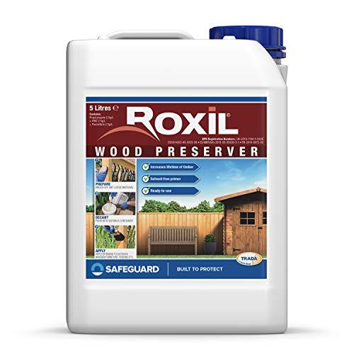 Roxil conservante de madera - 5 Litros - Formulación transparente e inodora, protege en contra del moho, hongos, carcoma y podredumbre