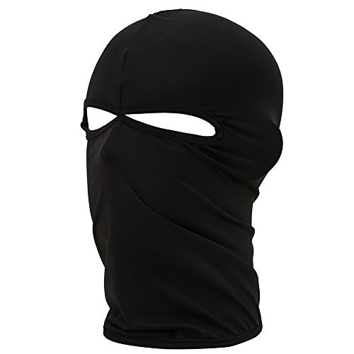 Fenti Gesichtsschutzmaske/ Facekini aus Lycra mit 2Ausschnitten, Einheitsgröße, für Extremsport/ Ski/ Surf/ Fahrrad/ Motorrad/ Airsoft/ Paintball L schwarz