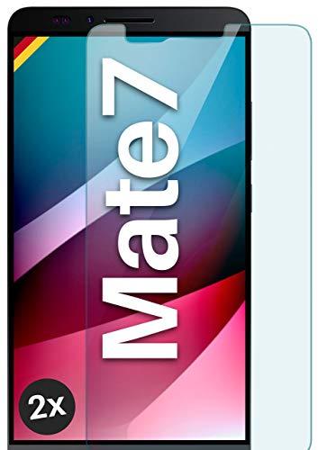 moex Panzerglas kompatibel mit Huawei Ascend Mate 7 - Schutzfolie aus Glas, bruchsichere Bildschirmschutz Folie, Crystal Clear Panzerglasfolie, 2X Stück