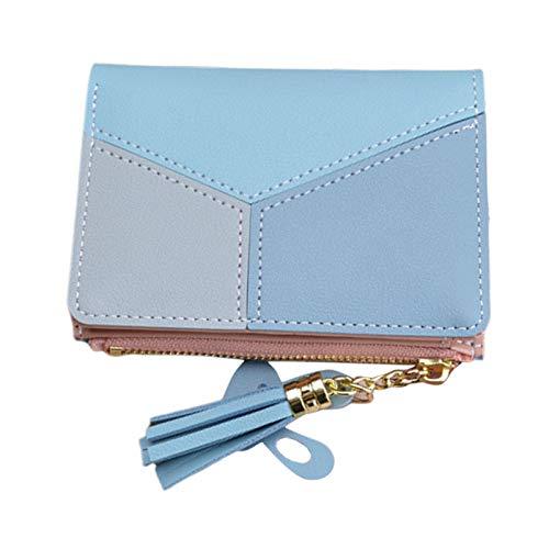 FITYLE Cartera de cuero para mujer con cremallera en torno a la cartera de embrague con correa de bolso de mano borla Tote teléfono titular - Short Blue