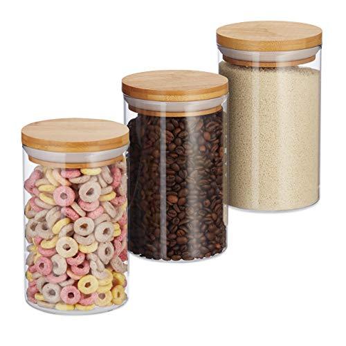 Relaxdays Vorratsdosen Glas, 3er Set, für Pasta, Reis, Müsli, Kaffeebohnen, Volumen 800 ml, HxD 16x9,5 cm, , natur