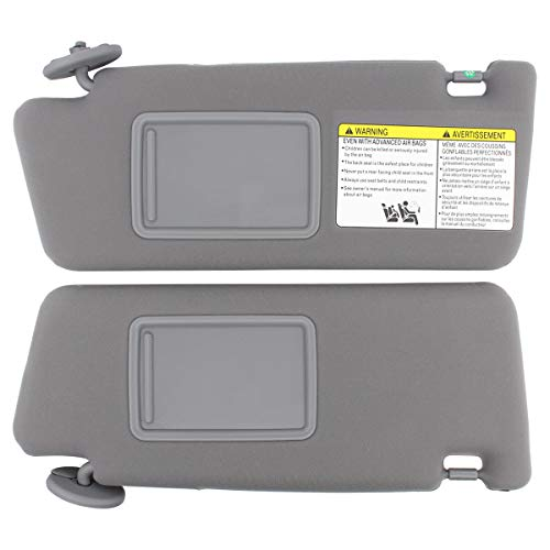 NewYall Set of 2 Front Left and Right Side Gray Sun Visor Without Vanity Light