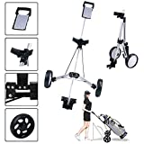 Nobran Carrito de golf plegable de 2 ruedas con 2 ruedas y luz de acero giratoria, 55,5 x 61 x 10,2 cm