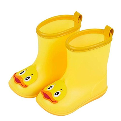 LNGRY Shoes,Toddler Kids Baby Girls Boys Cute Cartoon Duck Rubber Waterproof Anti-Slip Boots Rain Shoes (2-2.5 Years Old, Yellow)