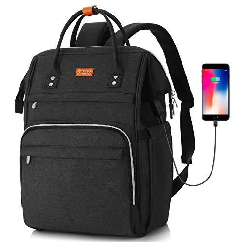 RJEU Mochila Ordenador Portatil 15,6 Pulgadas con Bolsillo RFID,Mochila de Ocio Mujer con Puerto de Carga USB para la Escolares/Escola/Negocios/Viajes(Negro)
