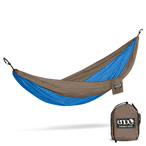 ENO, Eagles Nest Outfitters DoubleNest Lightweight Camping Hammock, 1 to 2 Person, Teal/Khaki