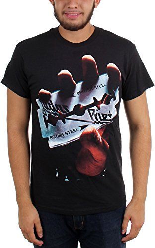Judas Priest - - British Steel T-shirt de Men in Black, Large, Black