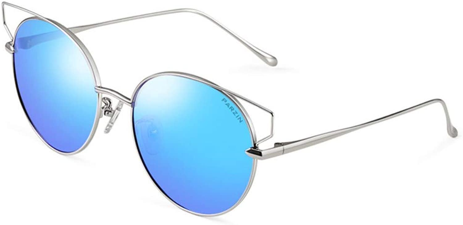 Polarized Sunglasses Women'S Metal Round Frame Fashion Trends Sunglasses Driver Driving Mirror Silver Frame Ice bluee