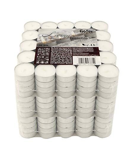Hofer Tealight Candele 300 Pezzi - Tea Light Candeline Cera e antigoccia - Durata 4 Ore - Lumini Non profumati di Colore Bianco Naturale - 3 x Set di 100 Pz