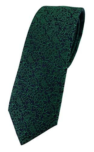 TigerTie - Corbata de diseño estrecho con estampado floral., verde y negro, Talla única