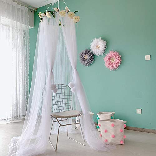 StageOnline Kids Room Decoration Canopy Bed For Children Canopies Childrens -Mosquito Net Kids Princess Tent Bed Canopy With Rose Decor Playhouse For Kids Toddler- Bedroom