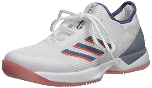 adidas Women's Adizero Ubersonic 3 Tennis Shoe, White/Tech Ink/True Orange, 7 M US