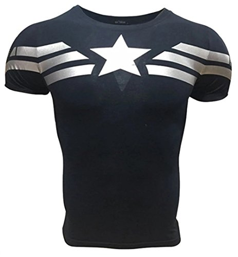 Camiseta Fitness Compresion Hombre con Dibujos de Superheroes para Entrenar y Hacer Deporte. Licras (Capitan America Básica) - M