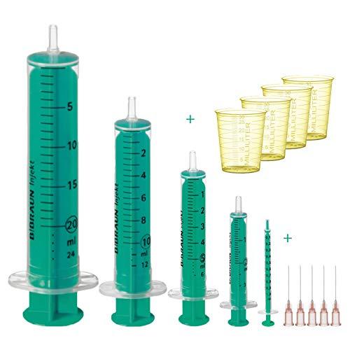 Spritzen Set B. Braun : 1ml, 2ml, 5ml, 10ml & 20ml + 5 stumpfe Kanülen 1,2 x 40mm und 4 Messbecher Behälter zum Heimwerken, Anmischen, für Liquid & Dosieren von praxy