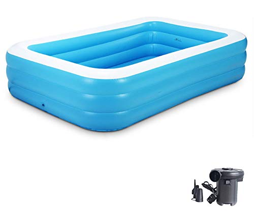 SXFYWJ Rechteckiger Gartenpool Außenpool Geeignet für Kinder Familie Erwachsene 130 * 90 * 48 cm Kostenlose elektrische Luftpumpe