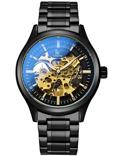 Alienwork Automatikuhr Armbanduhr Herren Damen schwarz Edelstahl Metallarmband Skelett
