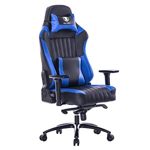 KILLABEE Memory Foam Gaming Chair, Adjustable Tilt Angle and 3D Arms Ergonomic High-Back Leather Racing Executive Computer Desk Office Metal Base, Blue