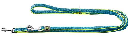 HUNTER MAUI Verstellbare Führleine für Hunde, Mesh-Material, weich, leicht, robust, 2,5 x 200 cm, blau