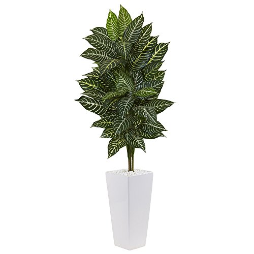 Nearly Natural 4' Zebra Artificial Plant in White Tower Planter, Green