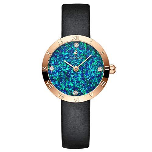 rorolove Reloj de pulsera para mujer de cuarzo, analógico, con diamantes de imitación y cristal de zafiro, esfera opalina