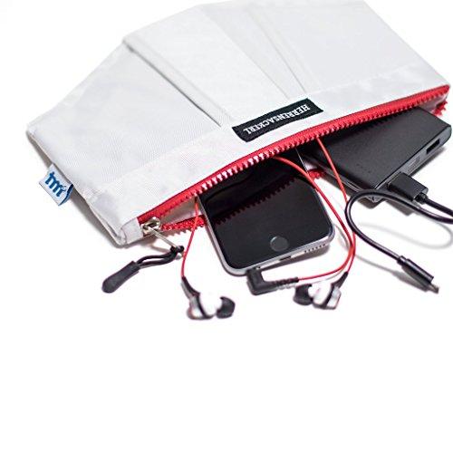 """Kabeltasche """"Herrensackerl"""" - Organizer für Ladekabel, Netzteile, Elektronikzubehör, Kopfhörer (mit rotem Reißverschluss) - 25 x 20 cm - Kosmetiktasche / Federmäppchen"""
