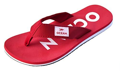 MADSea Damen Herren Zehenstegpantolette Ocean Zehentrenner Sandale rot weiß, Größe:39 EU, Farbe:rot/weiß