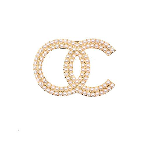 Lady Pins and Brooch Vintage Crystal Rhinestone Cc Brooches Pin Channel Brooch Pins Large Pearl Broche for Women,Light Yellow Gold Color
