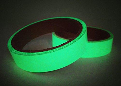 "Marsway 2 Rolls Luminous Tape Sticker 10' Length x 0.8"" Width Removable Waterproof Photoluminescent Glow in The Dark Safety Tape"