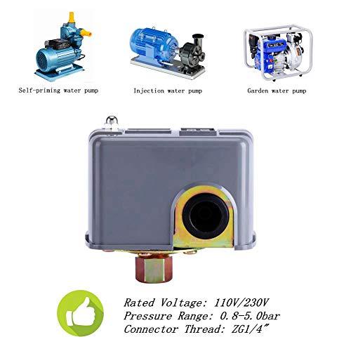 Wasserpumpe Druckschalter,0,8-5,0 bar Metall Kunststoff intelligente druckschalter Wasserpumpendruckkontrollschalter Einstellbarer doppelter Federstab Druckschalter für selbstansaugende wasserpumpe