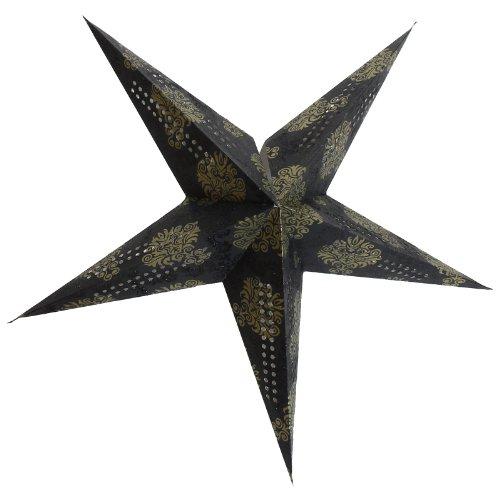BRUBAKER papieren ster vouwt kerstster met goudkleurige print en tint in klei glitterprint op fotokarton espresso 60 cm Ø