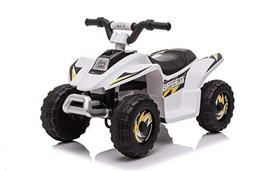 FP-TECH Quad Elettrico per Bambini 2WD LUCI Suoni Marcia avanti ED Indietro Macchina Moto (Bianco)