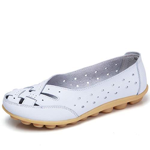 Vrouwen Loafers Lederen Schoenen Zwart Casual Comfort Ademende Slip Op Wandelen Rijden Ballet Boot Flats voor Dames